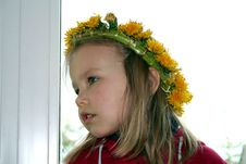Free A Girl With Dandelion Wreath Royalty Free Stock Photos - 4828128