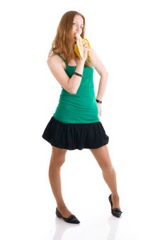 Free The Young Attractive Girl With A Banana Isolated Royalty Free Stock Photo - 4828165