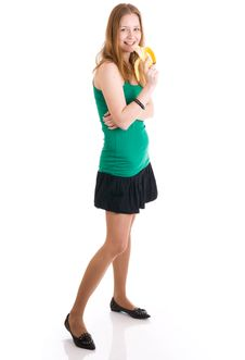 Free The Young Attractive Girl With A Banana Isolated Stock Images - 4828174