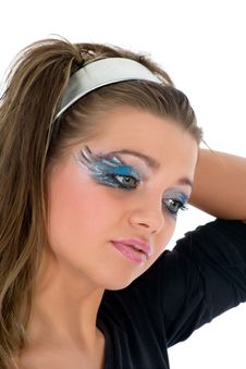Free Girl With Face-art Butterfly Paint Royalty Free Stock Image - 4828176
