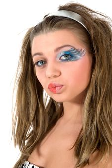 Girl With Face-art Butterfly Paint Royalty Free Stock Photo
