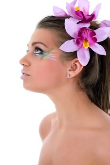 Free Girl With Face-art Butterfly Paint Stock Photos - 4828193