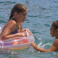 Free Two Girls Of Teenager Bath In A Sea (4) Stock Image - 4828371