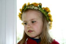 Free A Girl With Dandelion Wreath Royalty Free Stock Image - 4828376