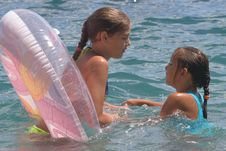 Free Two Girls Of Teenager Bath In A Sea (5) Stock Image - 4828411