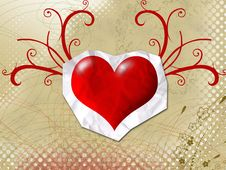 Free A Heart On A Sheet Of Paper Royalty Free Stock Image - 4828896