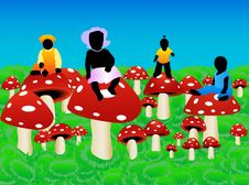 Free Kids And Mushrooms Royalty Free Stock Photography - 4829797