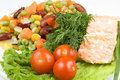 Free Stake From A Salmon With Vegetables Royalty Free Stock Images - 4836109