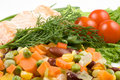 Free Stake From A Salmon With Vegetables Stock Images - 4836264