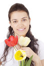 Free Young Woman Holding Tulips Royalty Free Stock Image - 4839006