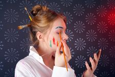 Free Beautiful Young Woman With Paint On Her Face Stock Photography - 4830092