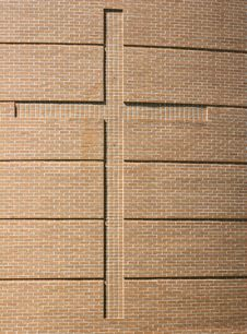 Cross On Brick Wall Stock Images