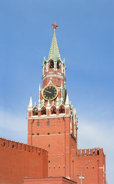 Kremlin. Tower. Clock. Red Star. Stock Photography