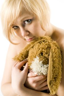 Girl With Rabbit-toy Stock Image