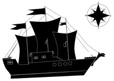 A Ship And A Compass Royalty Free Stock Photo