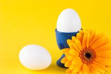 Free Yellow Flower And Two White Eggs Royalty Free Stock Photography - 4834457