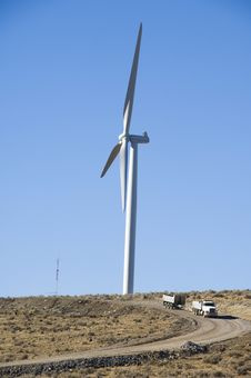 Wind Turbines And Dump Truck. Royalty Free Stock Photo