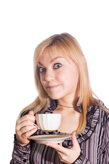Free Girl With Cup Of Coffee Stock Photography - 4835322
