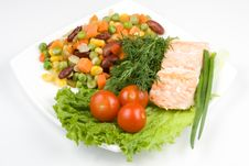 Free Stake From A Salmon With Vegetables Stock Images - 4836064