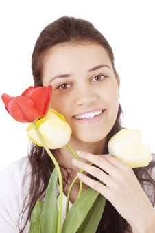 Free Young Woman Holding Tulips Stock Photo - 4839030