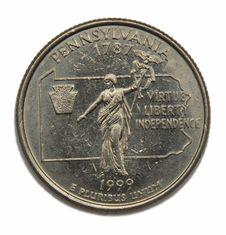 Free US Pennsilvania Quarter Dollar Royalty Free Stock Photography - 4840277