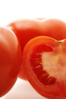 Free Close Up Shot Of Ripe Juicy Tomatoes Over White Stock Image - 4842451