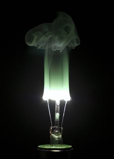 Free Burning Lightbulb With Green Hue Royalty Free Stock Photography - 4843117