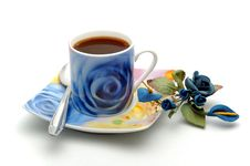 Free Blue Cup Of Coffee Royalty Free Stock Photos - 4843248