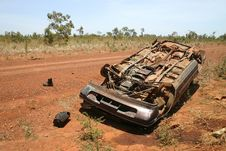 Free Overturned Obsolete Car Stock Image - 4845391