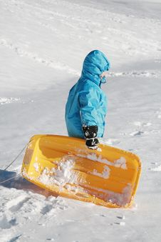 Free Boy With Sled Stock Photography - 4846242