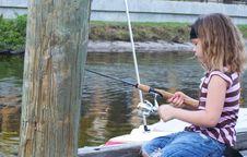 Free Little Girl Fishing Off Dock Royalty Free Stock Photo - 4846605
