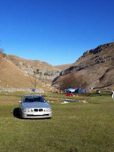 Free Camping At  Malham Cove Stock Photo - 4846620