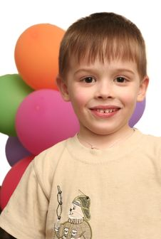 Smile Of The Lovely Boy And Balloons Royalty Free Stock Photography