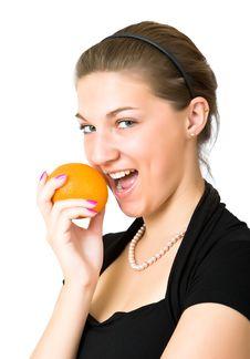 Free Girl And An Orange Stock Photos - 4848353