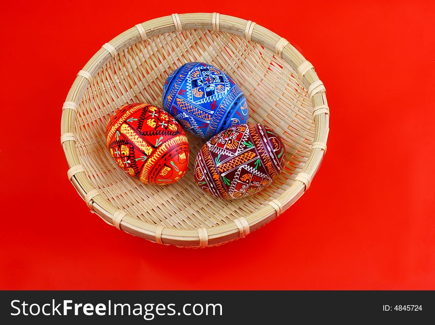 Three russian tradition easter eggs in yellow bask