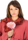 Free Brunette Hold On A Flower Royalty Free Stock Photography - 4853067