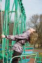 Free Girl In Park On Old Swing Stock Photo - 4859840