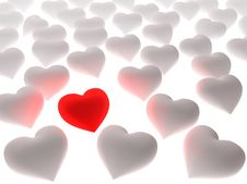 Free Red Heart In A Crowd Of White Hearts Royalty Free Stock Image - 4850636