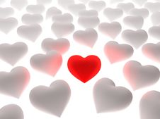 Free Red Heart In A Crowd Of White Hearts Royalty Free Stock Photos - 4850638