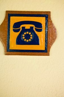 Free A Telephone Sign Carved Out Of Wood Stock Photos - 4851523