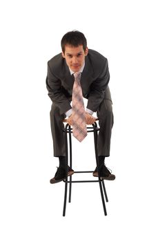 Free Young Businessman On Stool Stock Photography - 4852622
