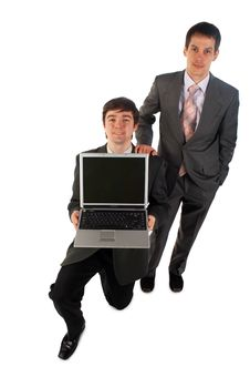 Free Two Young Businessmen With Notebook Stock Photography - 4852692