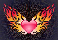 Free Heart In A Blaze On A Dark Background Royalty Free Stock Photography - 4852737
