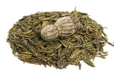 Aromatic Green Tea Leaves Royalty Free Stock Images