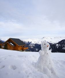 Free Snowman And Chalet Stock Photos - 4853563