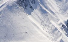 Fresh Ski Tracks Royalty Free Stock Photos