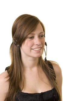 Free Young Lady With Headset Royalty Free Stock Photography - 4854327