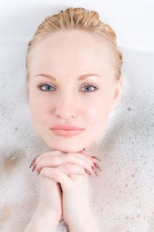 Woman And Foam Stock Image