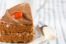 Free Slice Of Chocolate Cake With A Cherry Stock Photography - 4854482