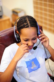 Free African Girl With Headset Stock Images - 4854504
